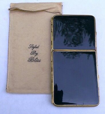 """Vintage """"Bliss"""" Double Compact Case, Gold-Tone and Black Enamel, 5"""" x 2 1/2"""""""