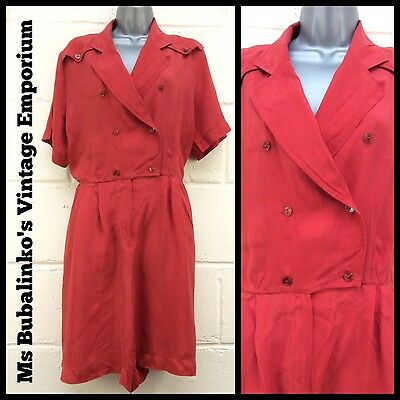 Vintage 80s Boho Retro Rockabilly Silky Red Playsuit Size 16
