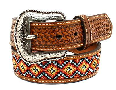 Nocona Western Boys Belt Kids Leather Embroidered Tan N4436008