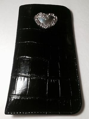 BRIGHTON Black Faux Gator Leather Soft Eyeglass Case w/ Silver Brighton Heart