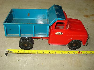 Vintage 1960s Tonka Dump Truck Pressed Steel Red and Turquoise Collectable