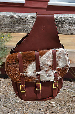 Chap Leather Calvary Style Saddle Bags Brown and White With Hair On- 3 Buckle
