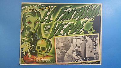 Rare Vintage Original Sherlock Holmes THE WOMAN IN GREEN(1945)Mexican Lobby Card