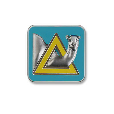 "Sober Camel Enameled AA Lapel Pin 5/8""   Teal/Gold/Matte Silver"