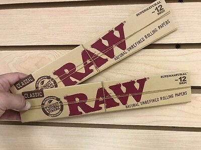 """2x Raw Classic Huge SuperNatural Hemp 12"""" Rolling Papers Free Shipping"""
