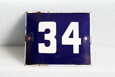 Antique French BLUE ENAMEL PORCELAIN SIGN PLATE HOUSE STREET DOOR NUMBER 34