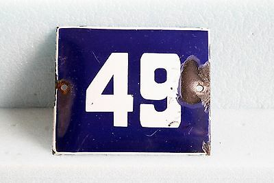 Antique French BLUE ENAMEL PORCELAIN SIGN PLATE HOUSE STREET DOOR NUMBER 49