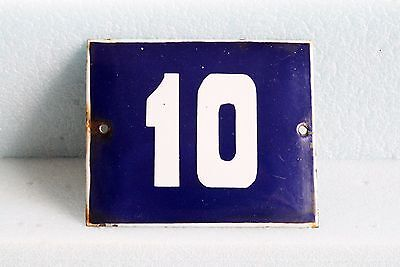 Antique French BLUE ENAMEL PORCELAIN SIGN PLATE HOUSE STREET DOOR NUMBER #10
