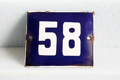 Antique French BLUE ENAMEL PORCELAIN SIGN PLATE HOUSE STREET DOOR NUMBER 58