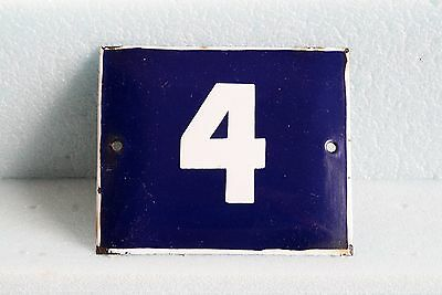 Antique French BLUE ENAMEL PORCELAIN SIGN PLATE HOUSE STREET DOOR NUMBER 4