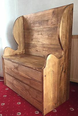 Solid Redwood Rustic Monks Bench Pew Settle With Storage