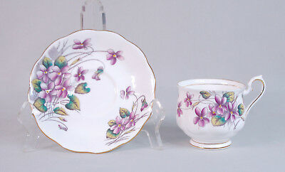 "Vintage Royal Albert Bone China ""Flower of the Month"" Cup & Saucer - Violets"