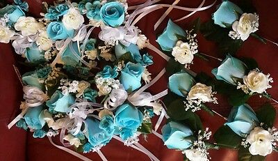 12 piece custom Rose Boutonniere *wrist Corsage* Turquoise wedding  *Quinceanera