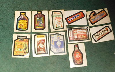 Vintage  Topps Wacky packs Packages Sticker stickers lot of 11 stickers
