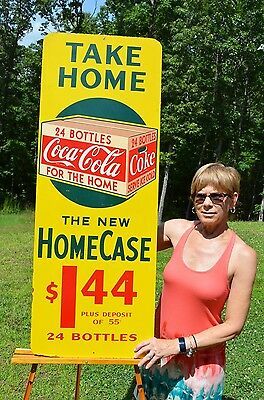 VINTAGE 40's COCA COLA SODA DRINK $1.44 TAKE HOME A CASE 24 BOTTLE SIGN SCARCE!