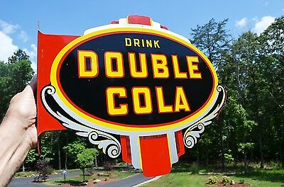 VINTAGE 40s DOUBLE COLA SODA DRINK FLANGE SIGN INVESTMENT GRADE SCARCE NOS MINT!