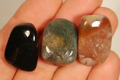 3 SARDONYX TUMBLED STONES 25g Healing Crystals, Chalcedony, Strength Protection