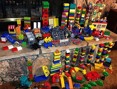 HUGE Lot of Lego Duplos Thomas Construction Vehicles Figures Track