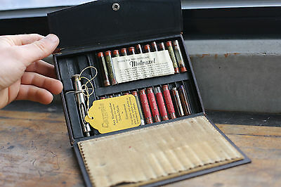 Fine Antique c1930  Doctors Travelling Medicine Case with Syringe etc