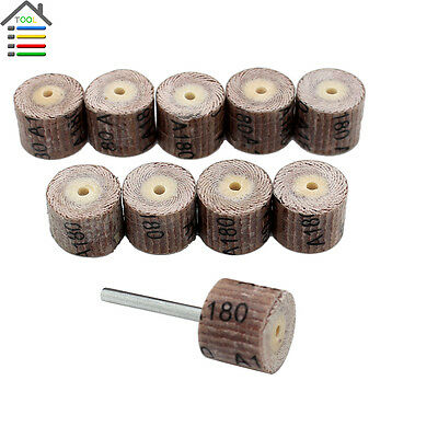 10PC Flap Wheel Sander Disc Replacement Mandrel 180 Grit for Dremel Rotary Tools