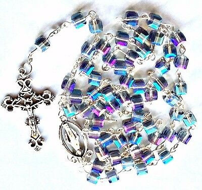 Deluxe Cut glass crystal Antique Style Rosary Beads with pouch Religious gift