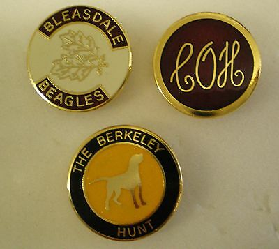 FOXHOUND HUNTING 3 x Pin Badges BLEASDALE BEAGLES, C.O.H, THE BERKELEY HUNT