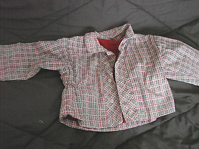 Vintage 50s Childs Boys Cotton Jacket Flannel Lined Plaid Buttons 3-4