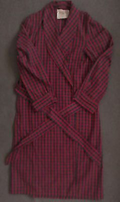 Vintage 50s-60s Men's STATE-O-MAINE Cotton Red & Green PLAID ROBE One Size