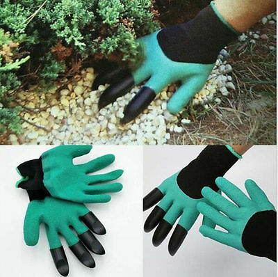 1Pair Garden Genie Gloves Fingertips Dig Plant Rose Pruning Right Hand Claw New