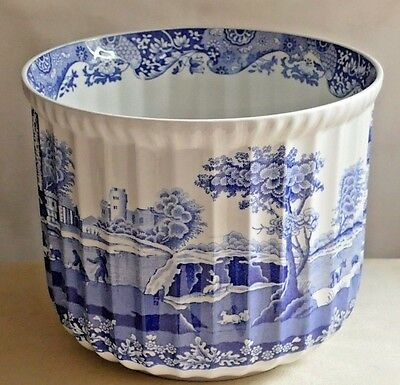 "SPODE BLUE ITALIAN ~ Large Rippled Jardiniere ~ 6.75"" Tall x 8.25"" Diameter."