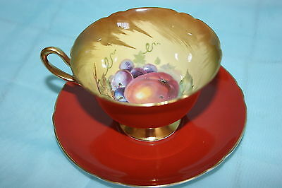 Gorgeous Vintage Shelley bone china footed cup saucer set- Rusty Orange & Fruits
