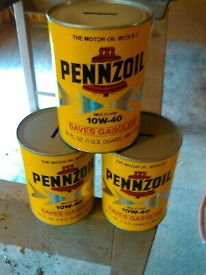 Pennzoil 10W-40 Oil Can Bank Arnold Palmer Printed Autograph lot of 3