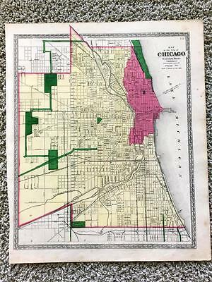 1872 Chicago Map,warner Beers,original,antique,rail Roads,light House,illinois