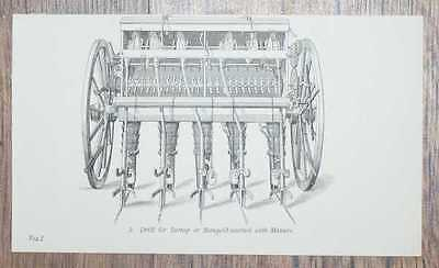 Engraved Plate from C19 Agricultural Book: Drill for Turnip or Mangold-wurtzel