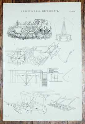 """Engraved Plate from C19 Agricultural Book showing """"Agricultural Implements"""""""