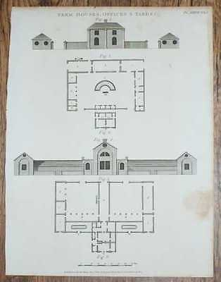 """Engraved Plate from C19 Agricultural Book entitled Farm Houses, Offices & Yards"""""""