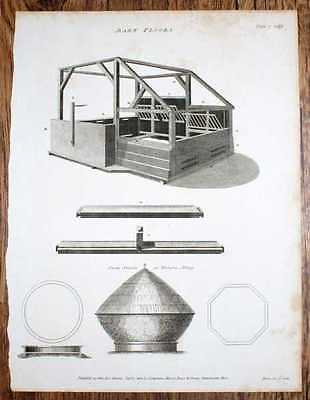 """Engraved Plate from C19 Agricultural Book entitled """"Barn Floors"""" with text"""