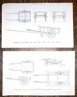 Engraved Plates from C19 Agricultural Book showing Scotch Tilt Cart and Hay Cart
