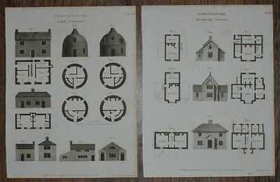 Engraved Plates from C19 Agricultural Book, Farm Cottages in Plan and Elevation