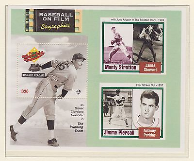 The Gambia Stamp Sheet Mnh 1993 Baseball On Film Biographies Ronald Reagan