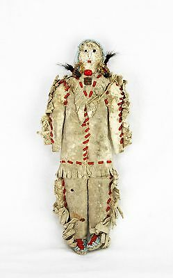 Antique Beaded Leather Native American Plains Indian Doll ca1890