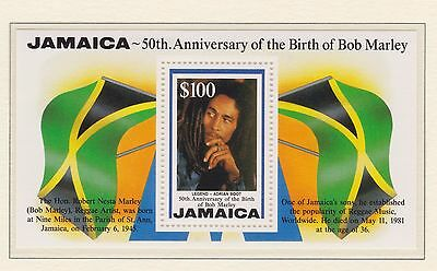 Jamaica Stamp Sheet Mnh 1995 Sg Ms882 Bob Marley 50Th Birthday