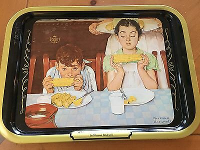 Norman Rockwell VINTAGE Who's Having More Fun Corn On The Cob TV Dinner Tray