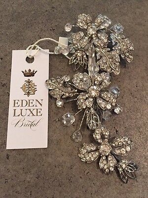 Bridal Hair Clip / Headpiece with Clear Swarovski Crystals by Eden Luxe Bridal