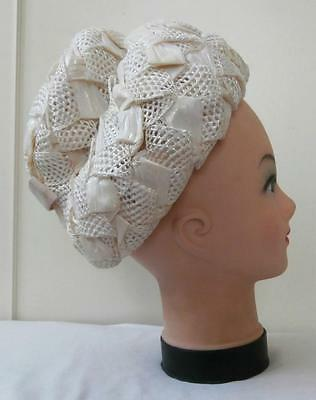Vintage 1950's Woven Cream Lacquered Raffia Straw Dress Hat  Goodwood Revival