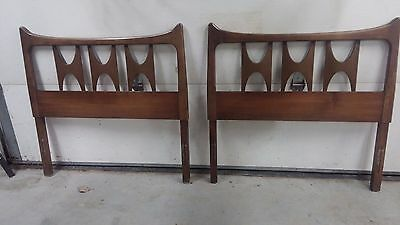 TWO Matching Mid Century Modern Twin Headboard/Footboards