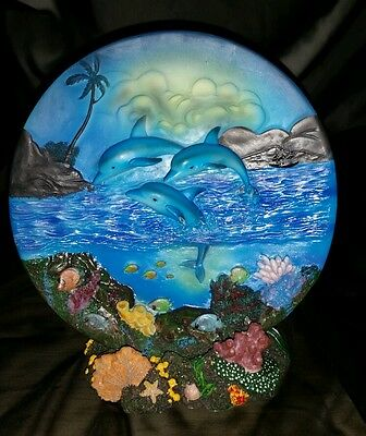 DOLPHIN ocean tropical scene on PLATE with coral SEA base 3D 2 piece set NEW