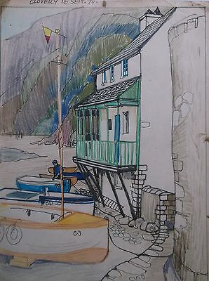 COLOURED GRAPHITE DRAWING by FREDERICK GEORGE WILLS 1901-1993 R.I. CLOVELLY