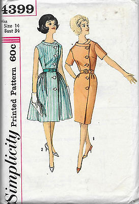 4399 VINTAGE 1960'S WRAP-AROUND DRESS Pattern with 2 SKIRTS Pattern Sz 14