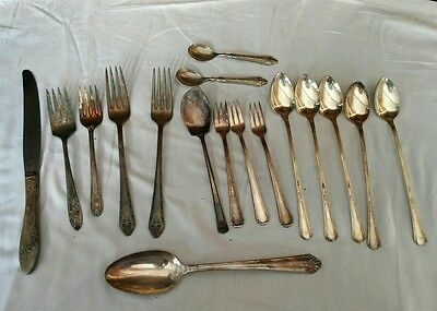 Vintage Silverplate Flatware Silverware Lot of 17pcs Mixed Patterns,